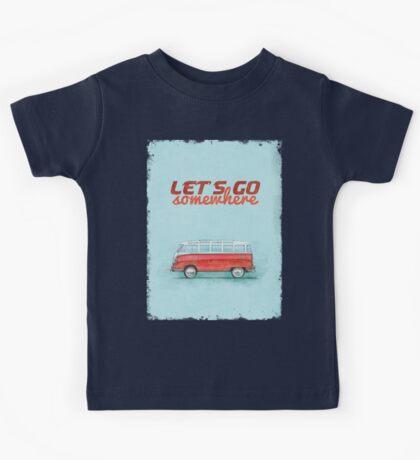 Volkswagen Bus Samba Vintage Car - Hippie Travel - Let's go somewhere Kids Tee