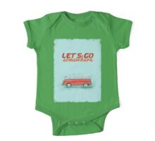 Volkswagen Bus Samba Vintage Car - Hippie Travel - Let's go somewhere One Piece - Short Sleeve
