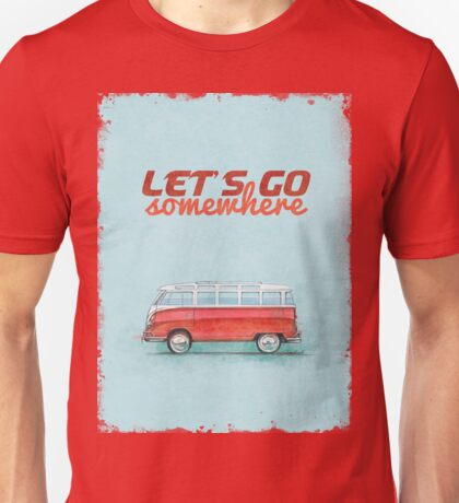 Volkswagen Bus Samba Vintage Car - Hippie Travel - Let's go somewhere Unisex T-Shirt