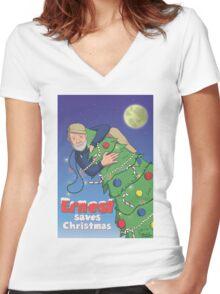 Ernest (Hemingway) Saves Christmas Women's Fitted V-Neck T-Shirt