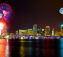 Moon and Fireworks over Miami by lattapictures