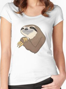 Happy Sloth Women's Fitted Scoop T-Shirt
