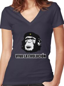 Viva La Evolucion Funny Chimp Che Women's Fitted V-Neck T-Shirt