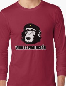 Viva La Evolucion Funny Chimp Che Long Sleeve T-Shirt