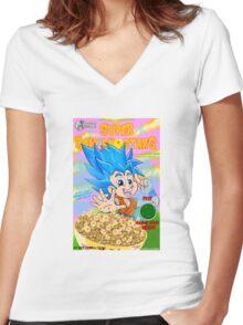 super saiyan stars Women's Fitted V-Neck T-Shirt