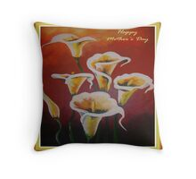 White Calla Lilies Happy Mother's Day Greetings Throw Pillow