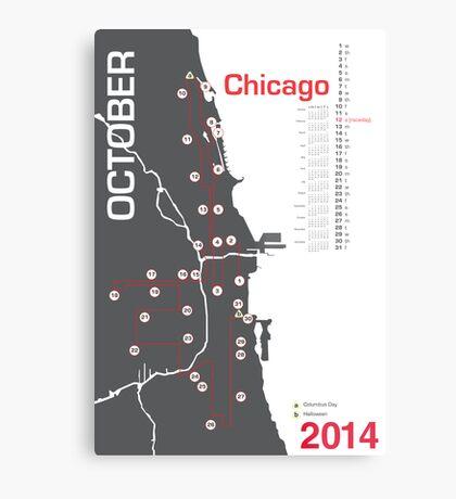 Chicago Marathon Map 2014 Metal Print