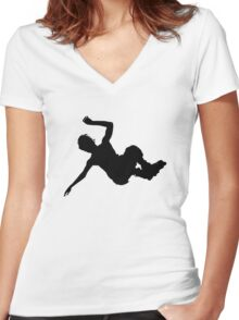 Aggressive inline skating jump silhouette Women's Fitted V-Neck T-Shirt