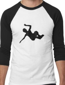 Aggressive inline skating jump silhouette Men's Baseball ¾ T-Shirt