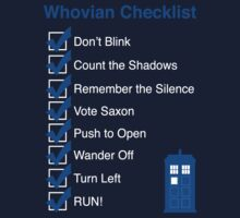 Whovian Checklist (for dark colors) Kids Tee