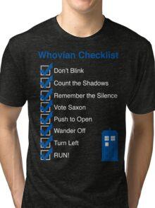 Whovian Checklist (for dark colors) Tri-blend T-Shirt