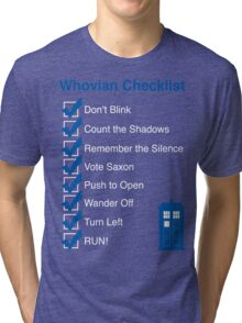 Whovian Checklist (for dark colors) Tri-blend T-Shirt