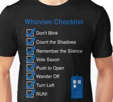 Whovian Checklist (for dark colors) Unisex T-Shirt