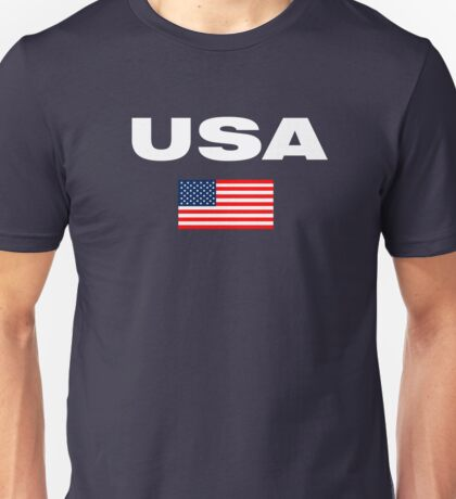 USA Horizontal WHITE Unisex T-Shirt