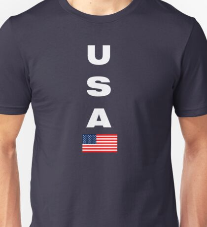 USA Vertical WHITE Unisex T-Shirt
