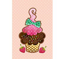 Bow Cupcake Photographic Print