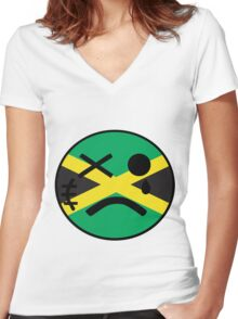 Jamaican Smiley Women's Fitted V-Neck T-Shirt