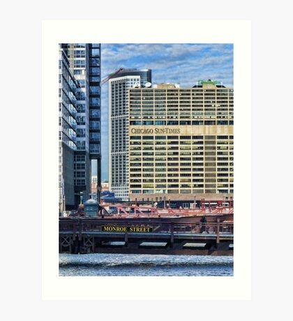 Chicago Sun Times & Monroe Street Bridge  Art Print