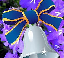 Silver Bell with Royal Blue Ribbon - New Year Card by BlueMoonRose