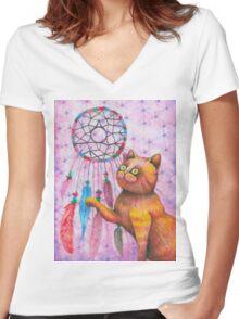 dream catcher kitty  Women's Fitted V-Neck T-Shirt
