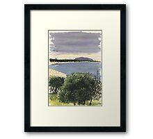 Cabbage Tree Island, Hawks Nest Framed Print