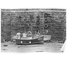 Fishing Boats Sitting Idle Poster