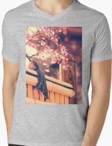 Pink Plum Blossoms with Bamboo Fence and Pagoda Mens V-Neck T-Shirt