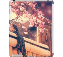 Pink Plum Blossoms with Bamboo Fence and Pagoda iPad Case/Skin