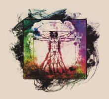 Colorful Grunge Vitruvian Man - Leonardo Da Vinci Tribute Art T Shirt - Stickers by Denis Marsili - DDTK