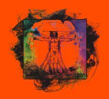 Colorful Grunge Vitruvian Man - Leonardo Da Vinci Tribute Art T Shirt - Stickers Kids Clothes