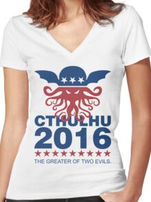 Vote Cthulhu 2016 Women's Fitted V-Neck T-Shirt