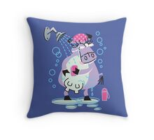 Cool Cow In The Shower!!! Throw Pillow