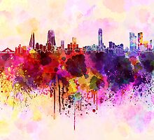 Manama skyline in watercolor background by Pablo Romero