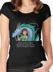 Spirited Away Chihiro and Haku-Studio Ghibli Women's Fitted Scoop T-Shirt