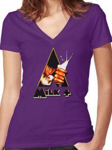 Milk+ Women's Fitted V-Neck T-Shirt