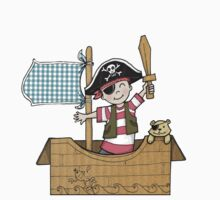Cardboard Kid Pirate (Little Stars Collection) One Piece - Long Sleeve
