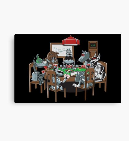 Robot Dogs Playing Poker Canvas Print