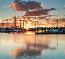 Bridge Marina Peach Dawn by Ken Wright