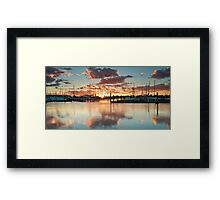 Bridge Marina Peach Dawn Framed Print