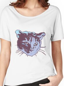Cool Cat Head Graphic ~ blue  Women's Relaxed Fit T-Shirt