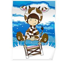 Girl in Cow Costume on Sledge Poster