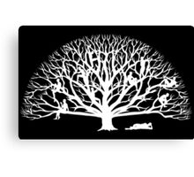 Tree Dwelling White Silhouette Canvas Print