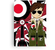 Mod Boy & Retro Scooter Canvas Print
