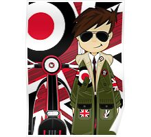 Mod Boy & Retro Scooter Poster