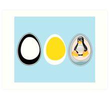 LINUX TUX  PENGUIN  3 EGGS Art Print