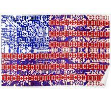 digital Flag (USA) & circuit board. Poster