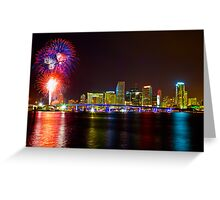 Miami Fireworks Greeting Card