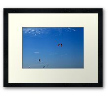 Kite Board Kites And Blue Sky Framed Print