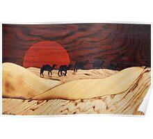 Desert landscape marquetry Poster