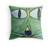 Green Beach Cat Head Throw Pillow
